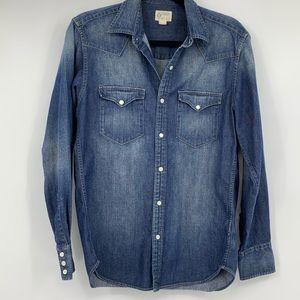 J Crew mens denim jean shirt button front small